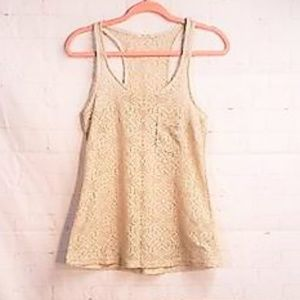 TEA N ROSE BEIGE LACE TANK TOP SIZE SMALL